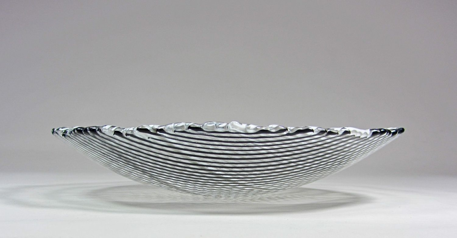 Hand Crafted Art Glass Bowl Black And White Stripes 9 Inch