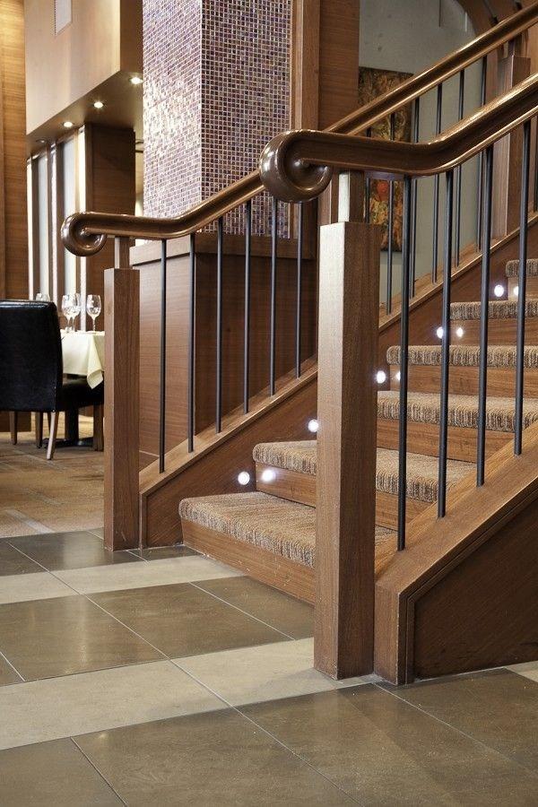 Hand Crafted Custom Wood Stair Railing Enhances Upscale Restaurant   Custom Wood Stair Railing   Natural Wood   Barn Beam   Metal Spindle   Attic Stair   Rail