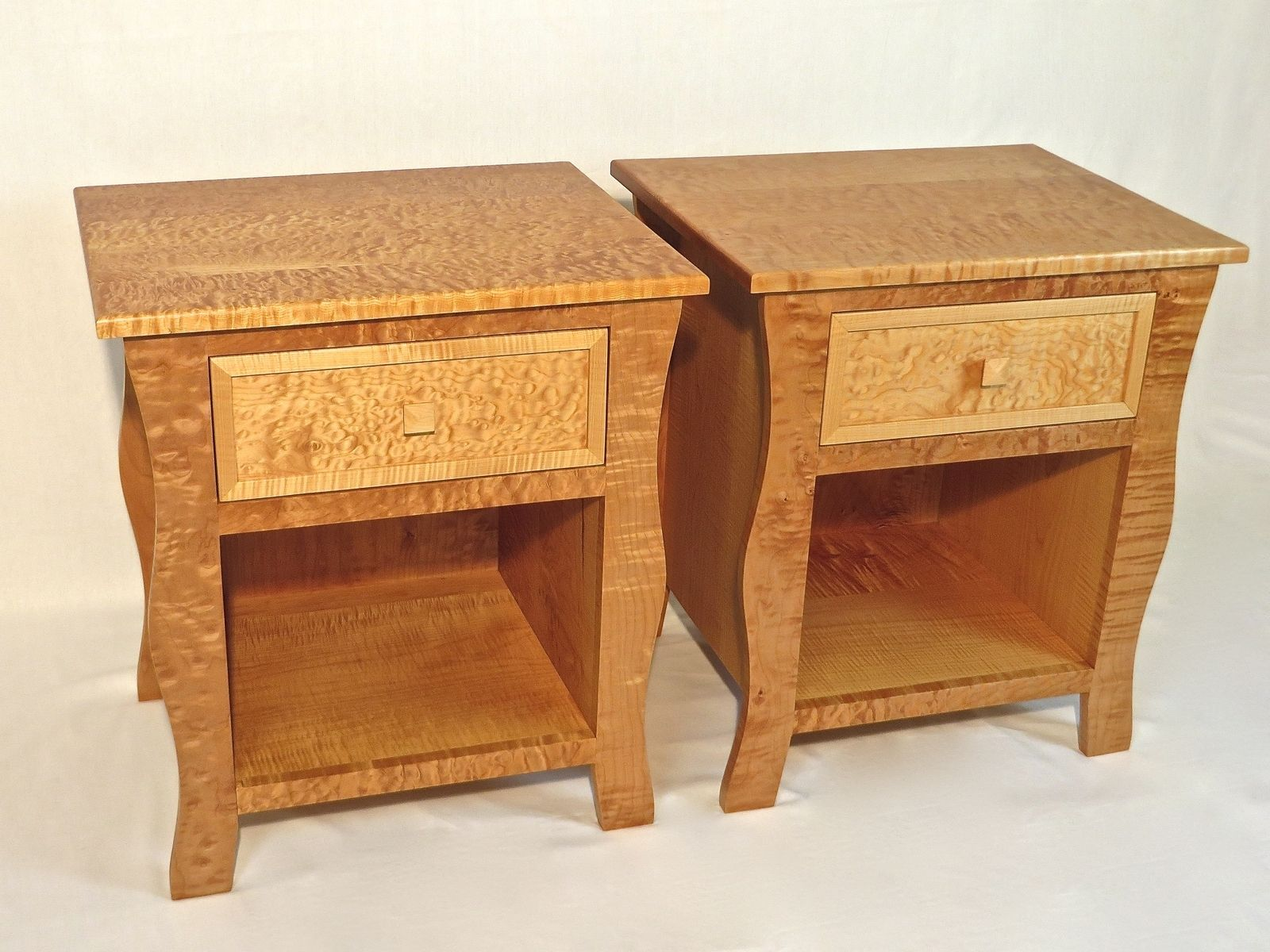 Hand Crafted Nightstands Pair Of Curly Maple Nightstands
