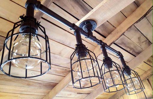 Buy A Custom Made Rustic Industrial Chandelier- Black Pipe