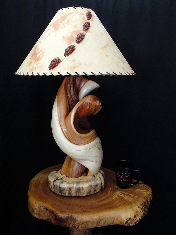 Custom Made Twisted Juniper Wood Table Lamp Rustic Home