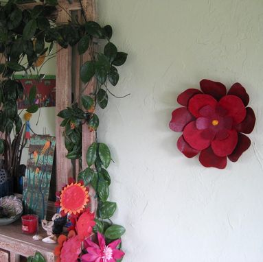 Custom Handmade Upcycled Metal Hibiscus Flower Wall Art In