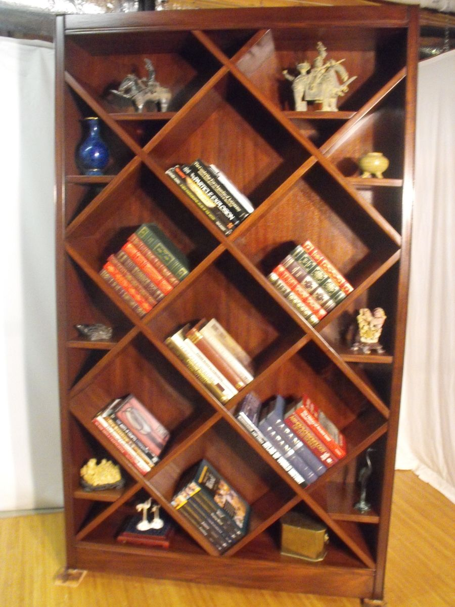 Handmade BookcaseCurio With Diagonal Shelves By Wonder
