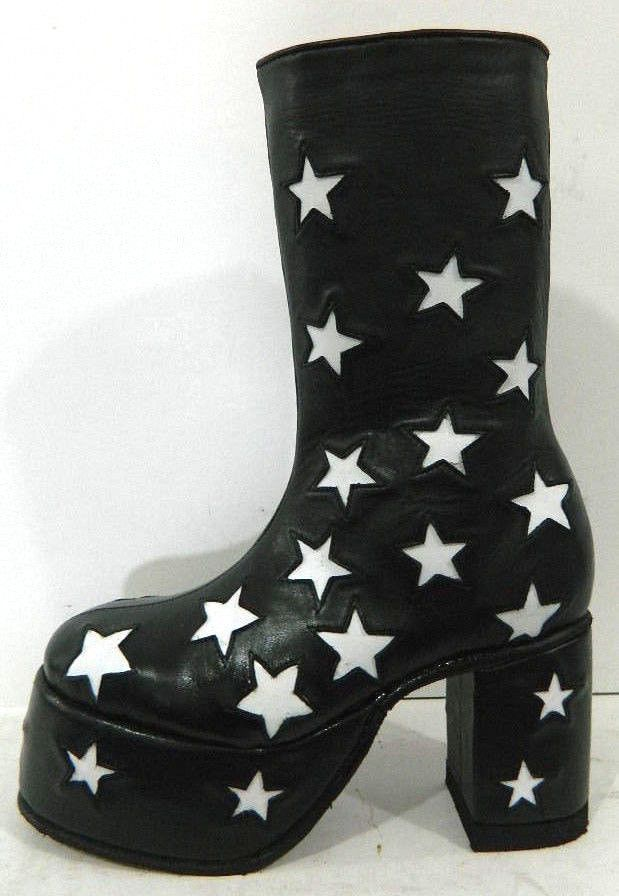Custom Made Glam Rock Era Platform Boots With Stars All