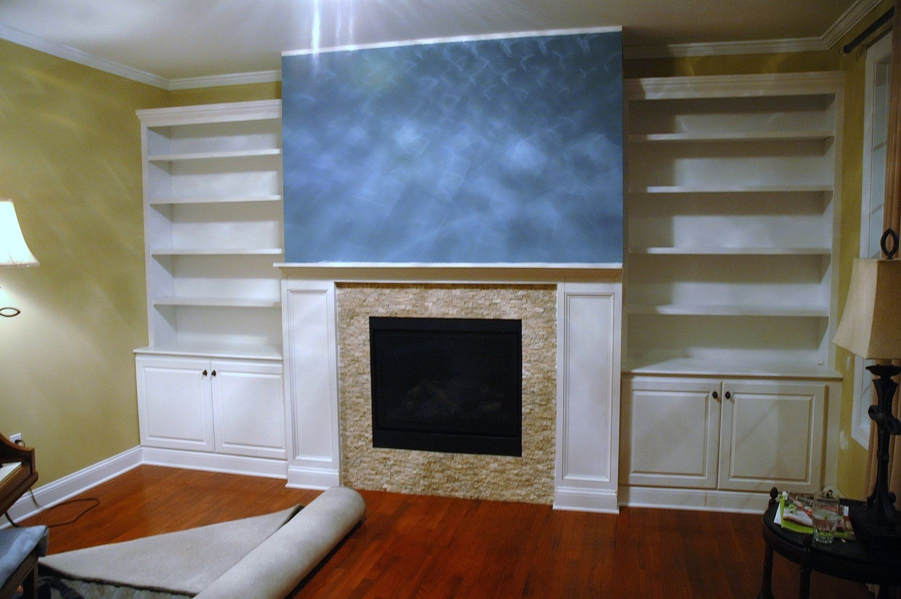 Handmade Built-In Bookcases, Base Cabinets And Fireplace