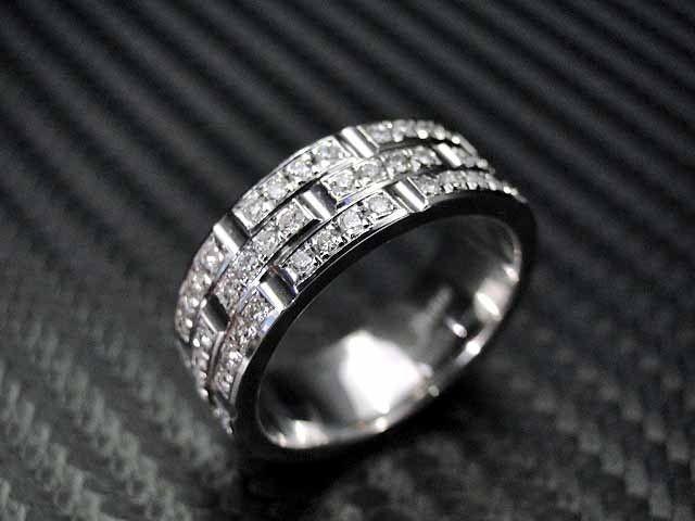 Hand Crafted 14k White Gold Mens Diamond Wedding Band