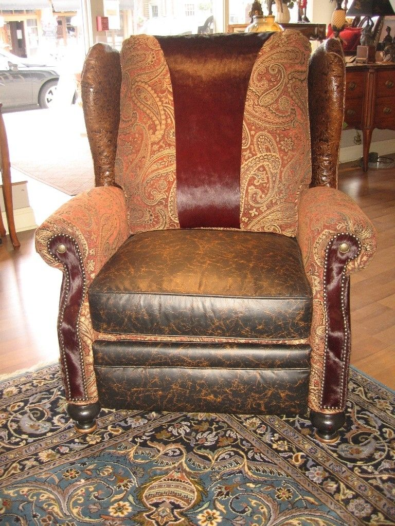 Handmade Unique Furniture Recliner With Tooled Leather