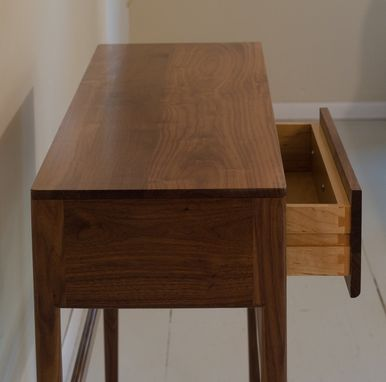 Custom Danish Mid Century Modern Style Console Table With Drawers Solid Wood Walnut By Black