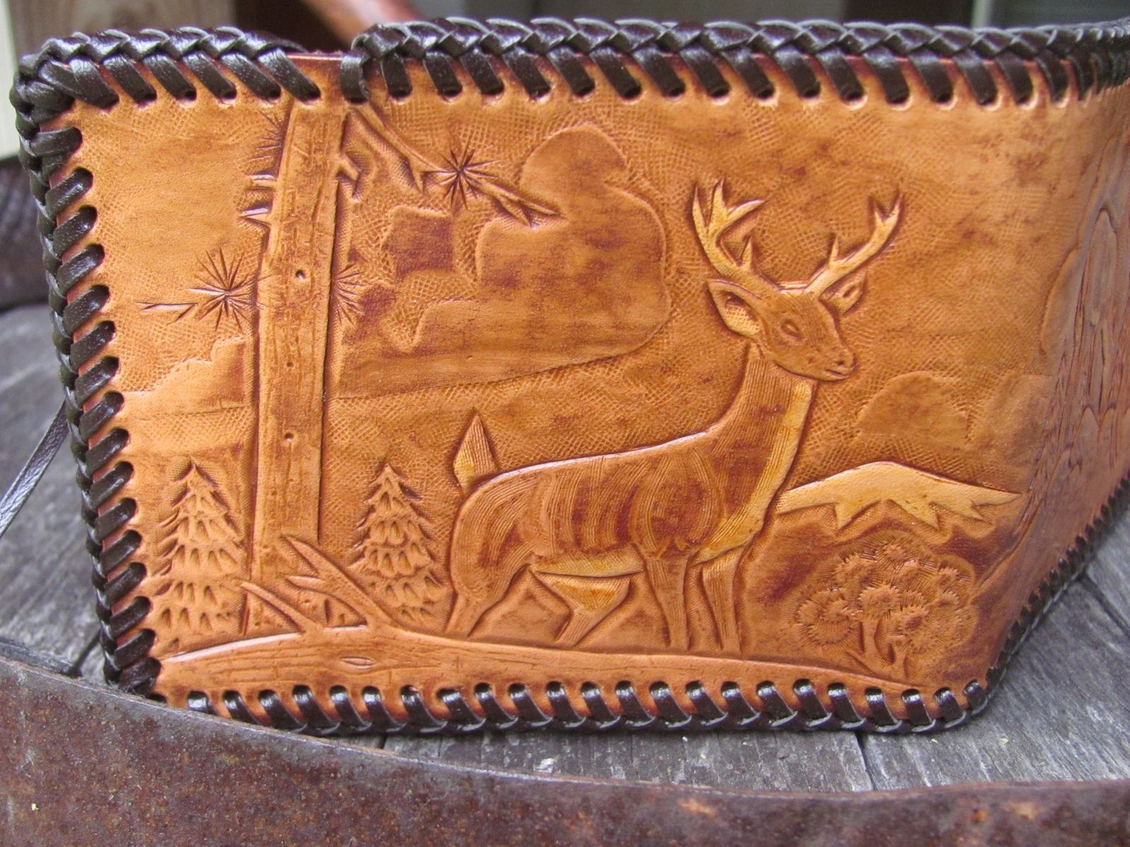 Hand Made Hunting Design Handcarved Leather Wallet Big