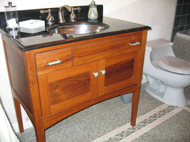 hand crafted custom teak furniture-style bathroom vanitynear