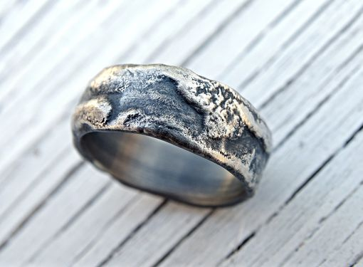 Buy A Hand Made Molten Silver Ring Richly Structured Unique Mens Ring Alternative Wedding Band