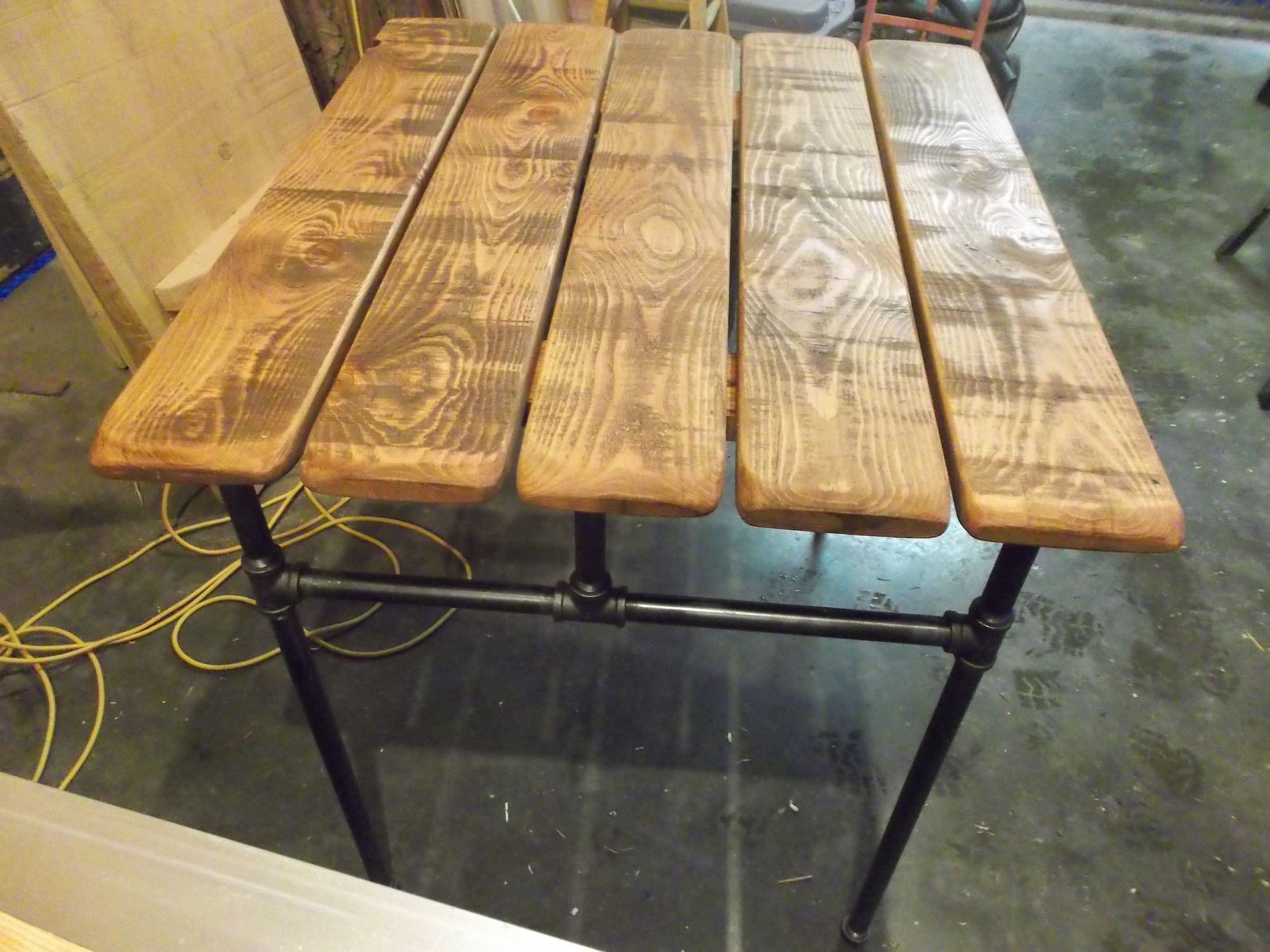 Hand Crafted Industrial Cast Iron Pipe Table By Gleneagle