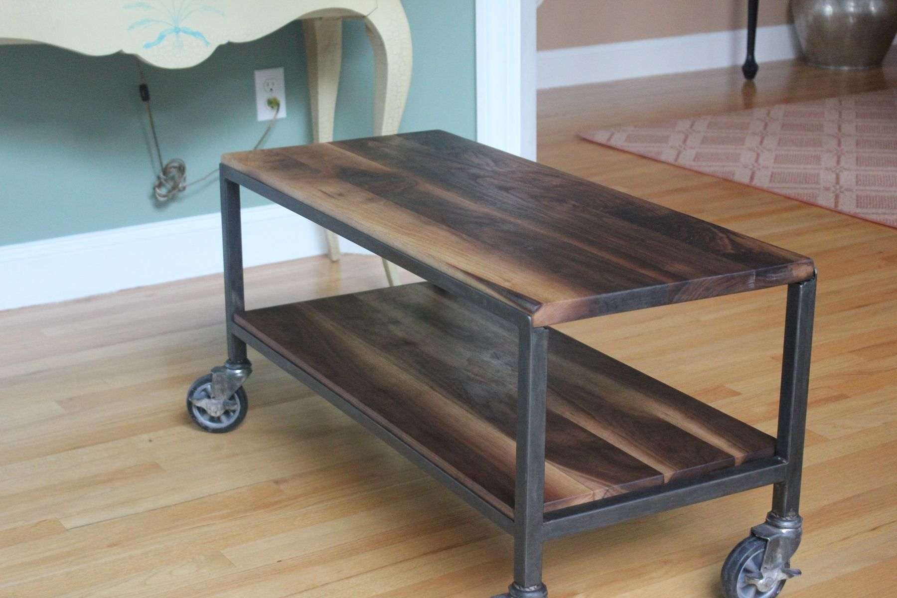 Custom Made 2 Tier Coffee Table On Casters By Harvest Home