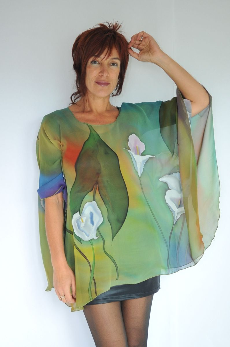Custom Hand Painted Silk Poncho By Natashas Silks