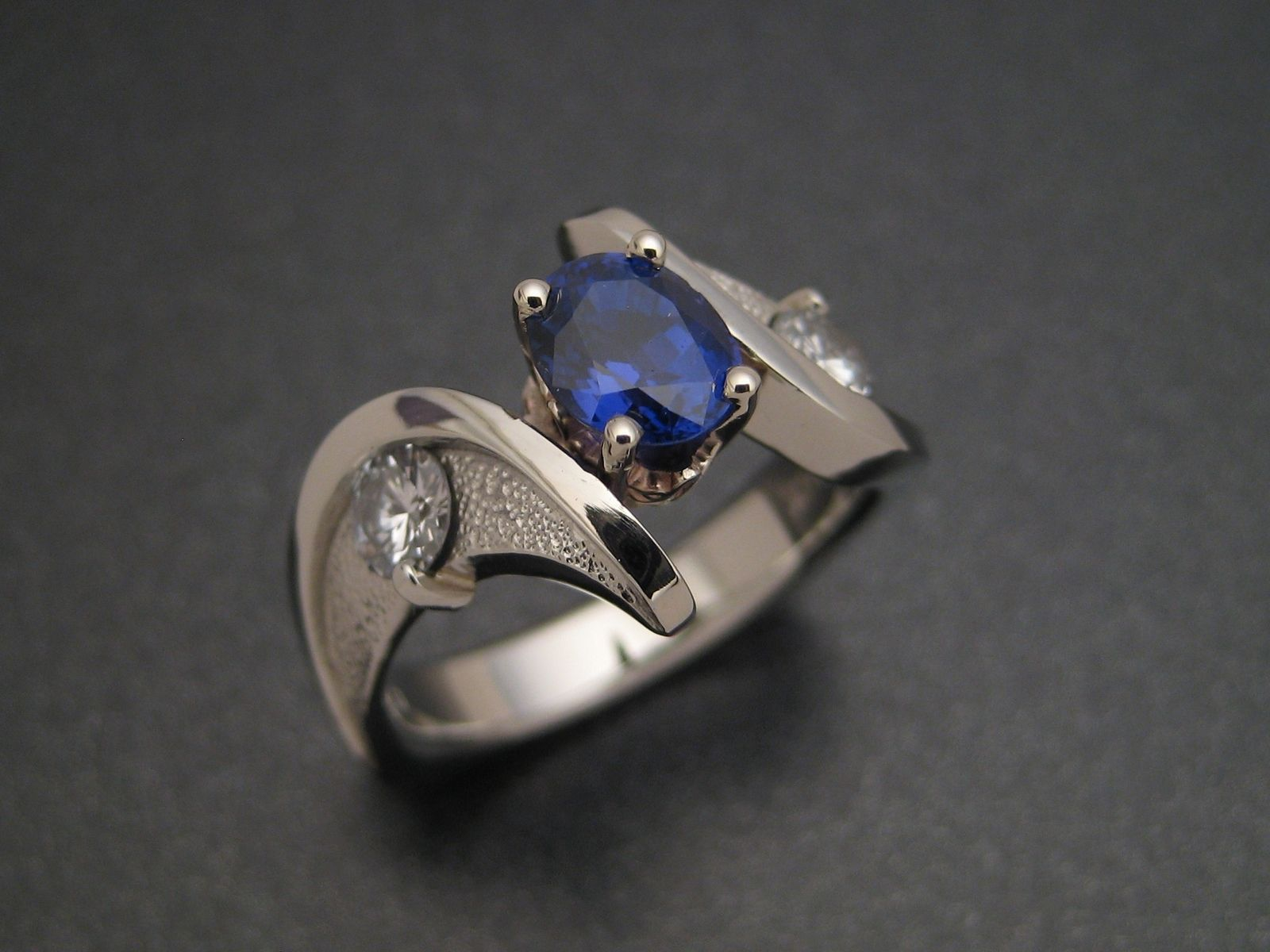 Hand Crafted Sapphire Wedding Ring By Sculpted Jewelry