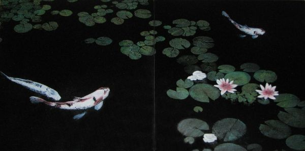 Custom Koi Pond Laser Etched Black Granite With Colour