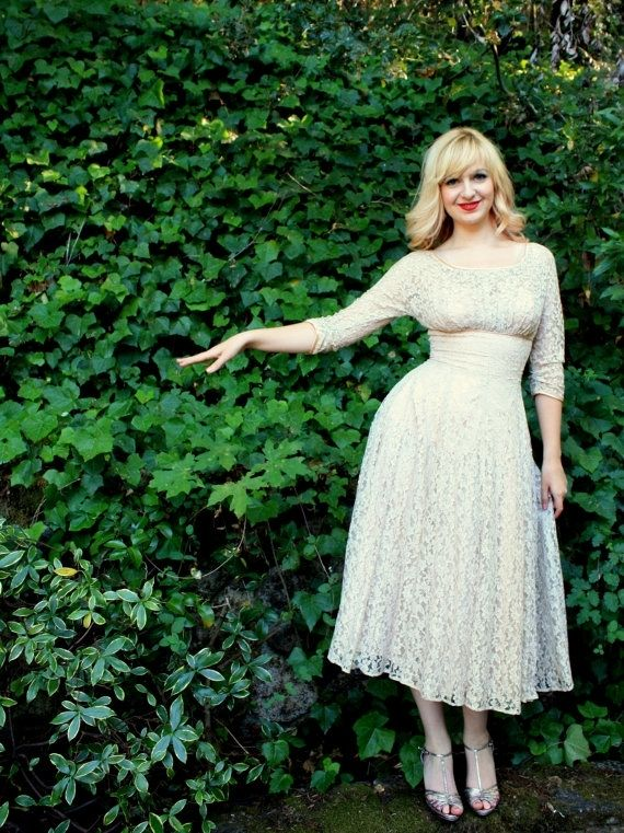 Custom Made Vintage 40s 50s Wedding Dress Beige Nude