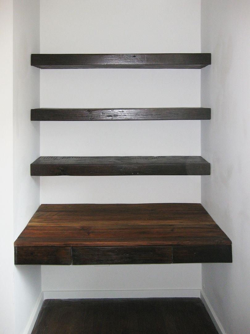 Custom Made Reclaimed Wood Desk And ShelvesConstruction