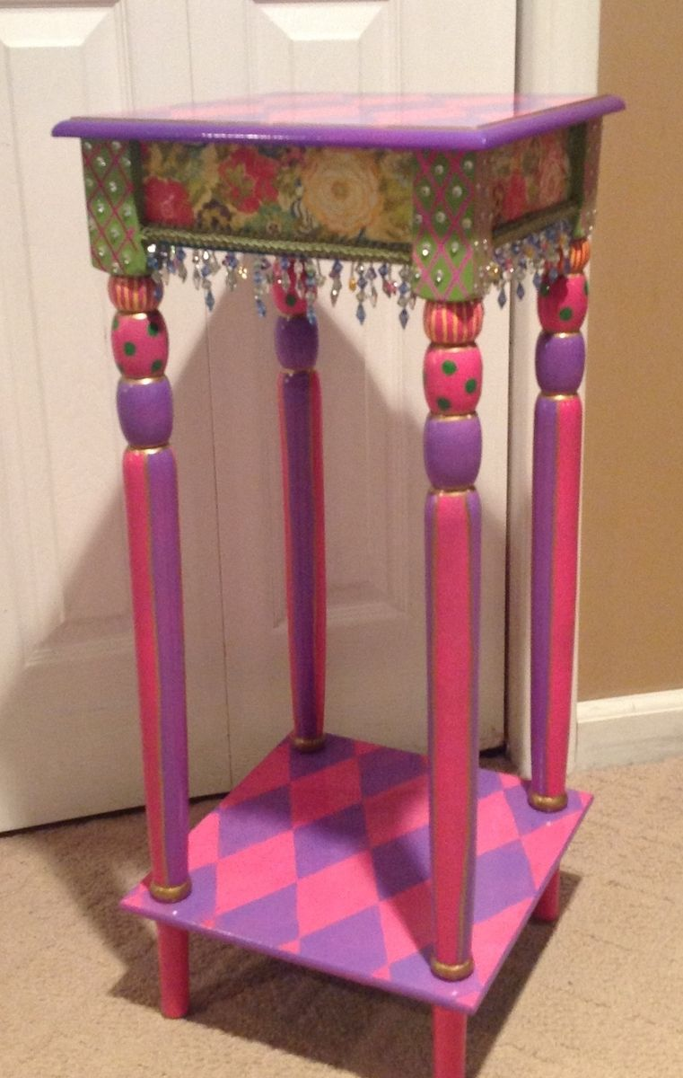 Hand Crafted Custom Hand Painted Accent Side Table Harlequin By Michele Sprague Design