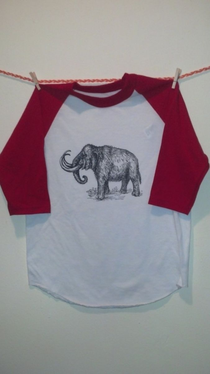 Custom Woolly Mammoth Screen Printed T Shirt Black Ink