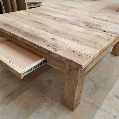 reclaimed barnwood square coffee table with free shipping