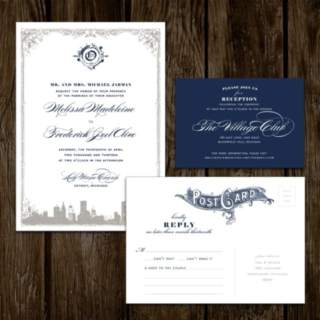 Detroit Skyline Wedding Invitations By Karen Lano