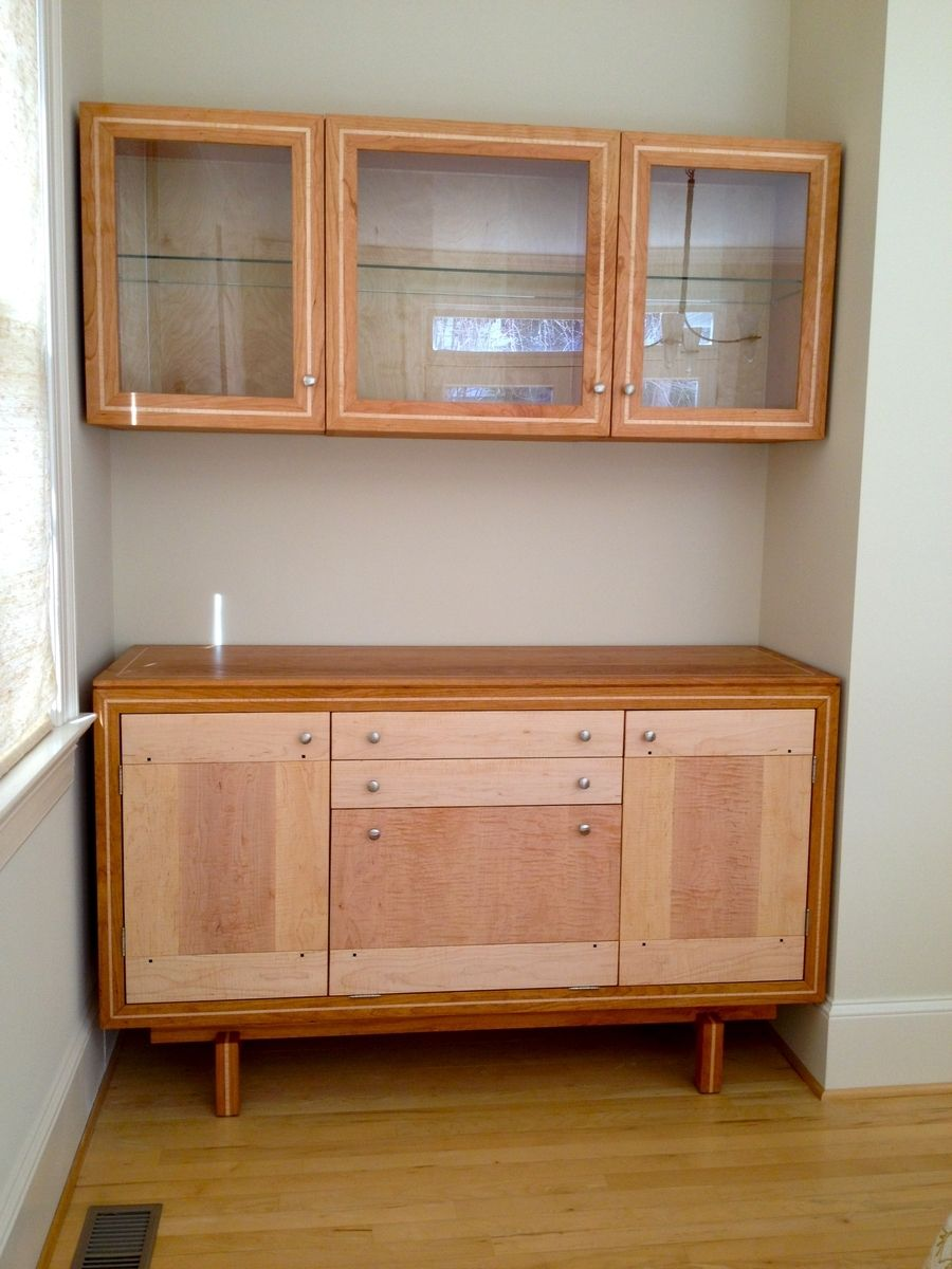 Custom Made Cherry And Maple Buffet And Matching Wall
