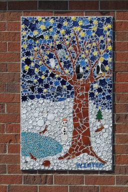 Handmade Four Seasons Garden Mosaic Mural And Sunflower