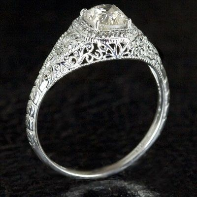 Hand Crafted Art Deco Filigree Engagement Ring Semi Mount