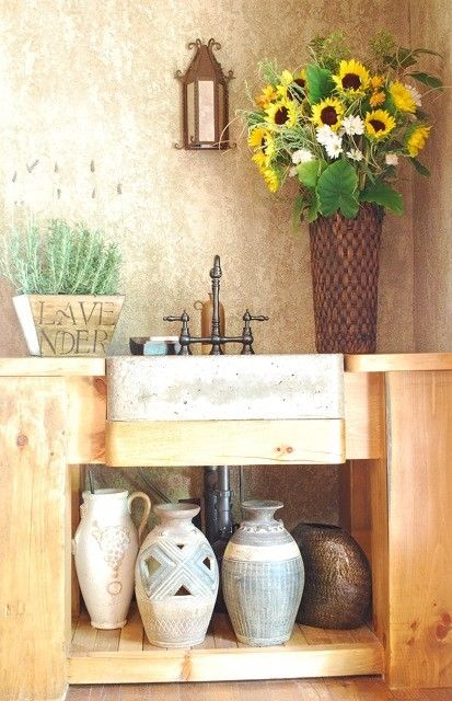 custom made tuscan kitchen prep sink by