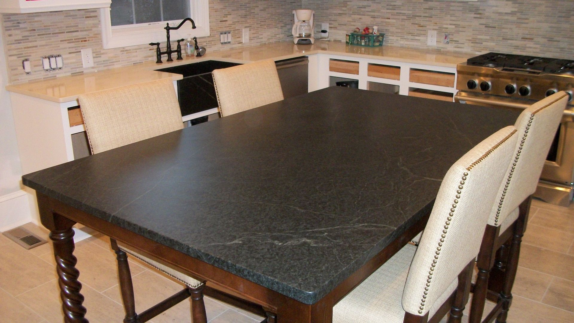 Hand Made Soapstone Table By Carolina Soapstone Inc