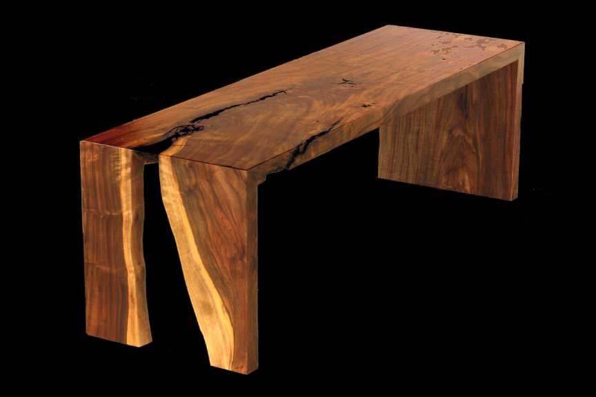 Custom Live Edge Walnut Bench By Blunt Woodworks