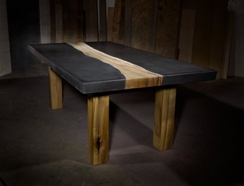 Custom Made Concrete Table With Wood Inlay By TAO Concrete