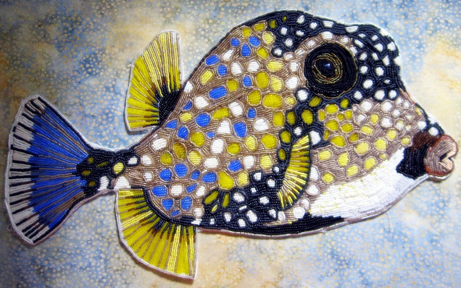 Custom Seed Bead Embroidered Trunk Fish By Contemporary