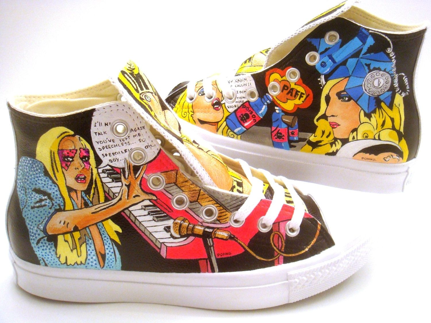 Hand Made Lady Gaga Converse Hand Painted By PONKO WORLD