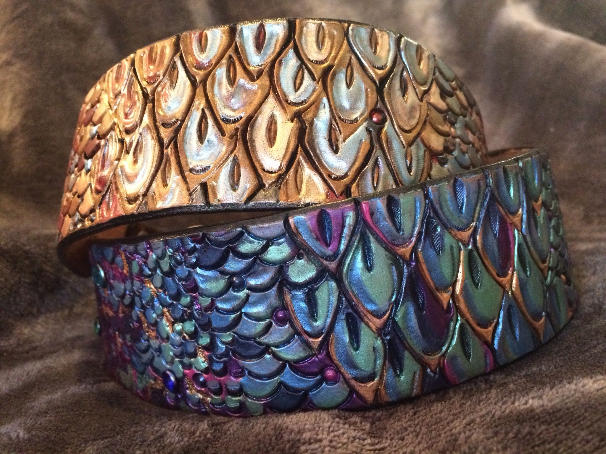 Buy A Hand Crafted Dragon Scale Leather Dog Collar Made To Order From Saxon Leather Art