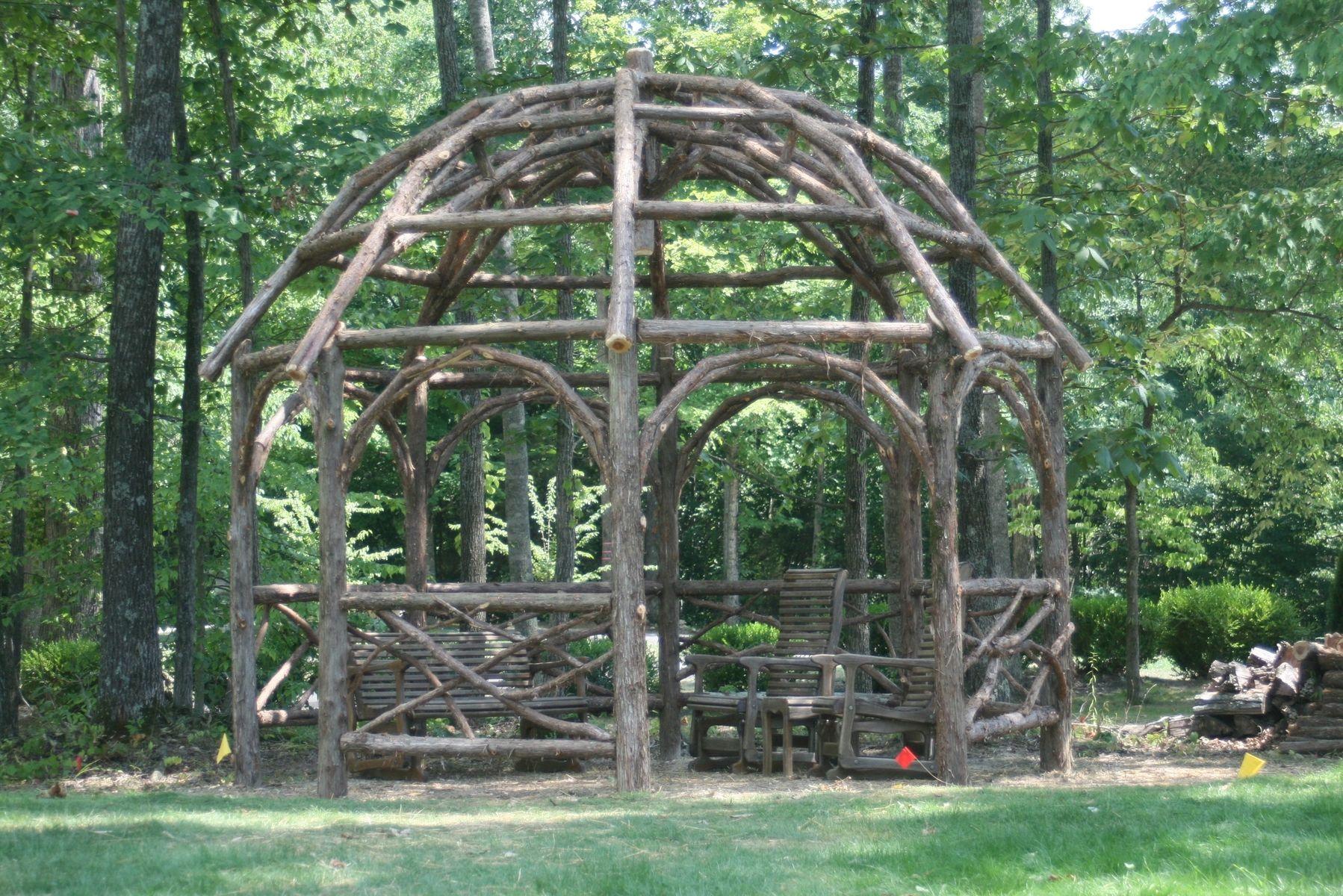 Custom Made Rustic Dome Roof Cedar Pergola By Rustic