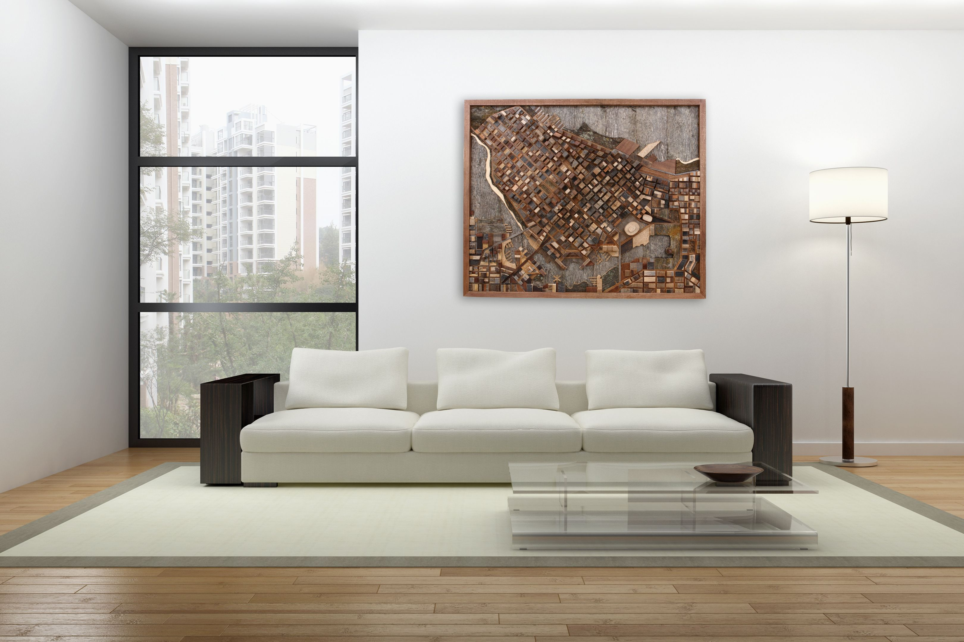Hand Crafted Vancouver Cityscape Wood Wall Art Made Of