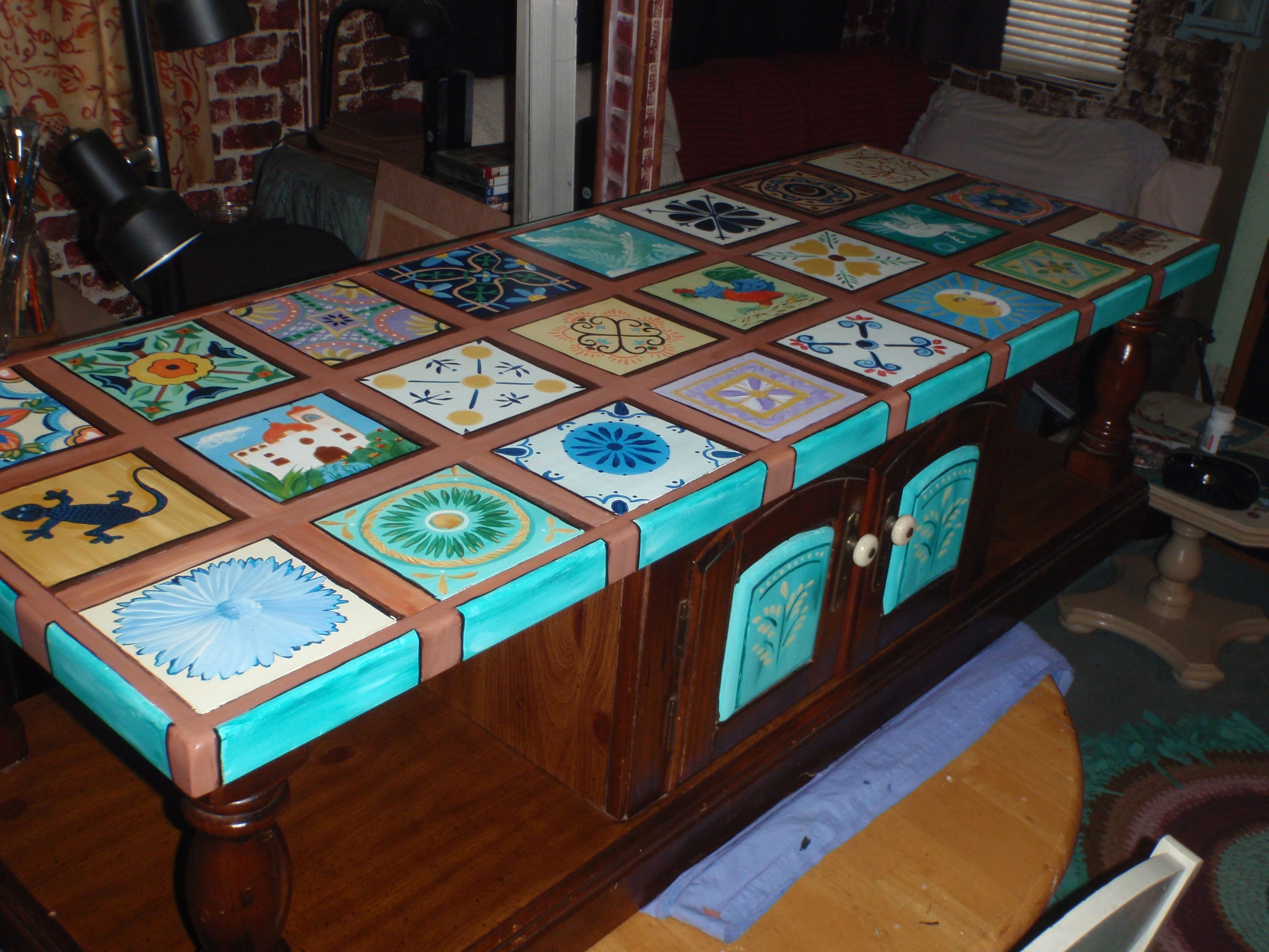 hand painted mexican tile table