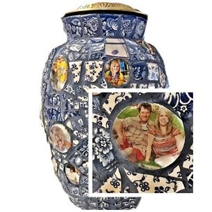 pique assiette mosaic cremation urn with photo montage by