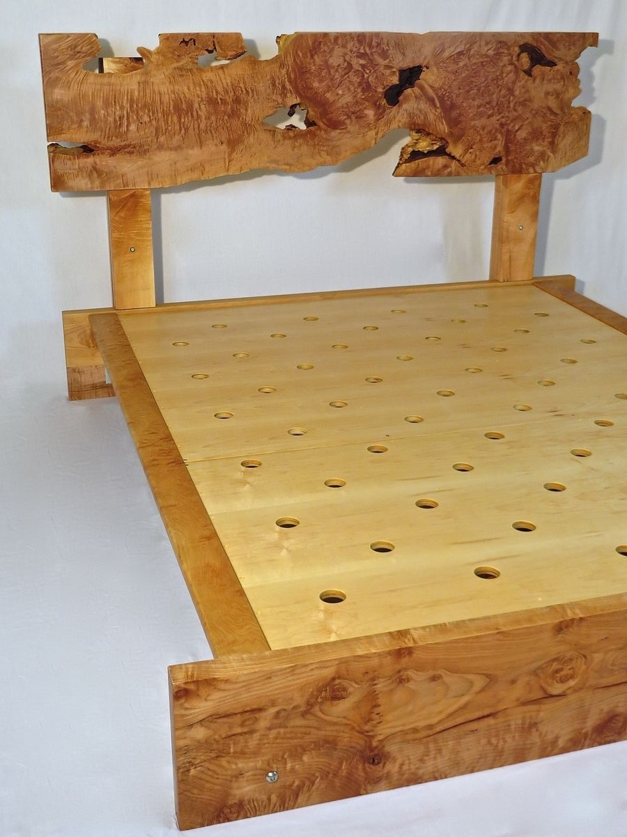 Hand Crafted Queen Bed Frame Live Edge Curly Maple By