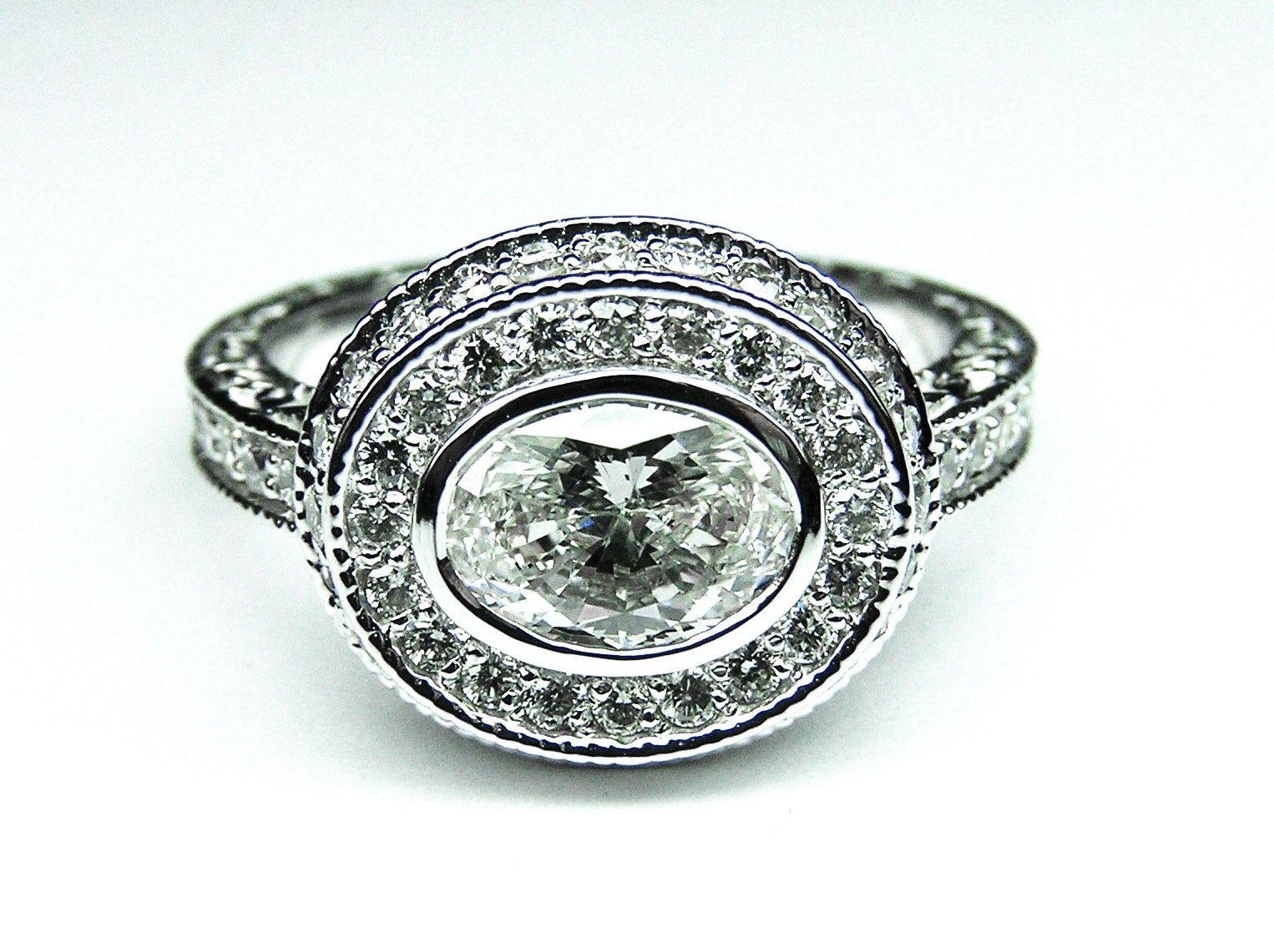 Hand Crafted Horizontal Oval Diamond Engagement Ring Bezel