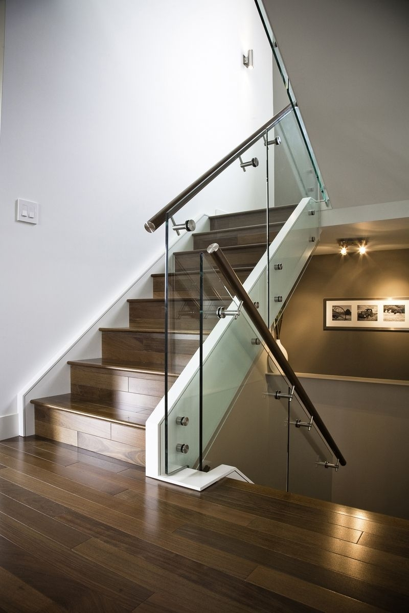 Hand Made Maple Stair With Glass Railing And Stainless Steel | Steel Stair Railing With Glass | Stair Residential Building | Free Standing | Tempered Glass | Steel Pipe | Floor Mounted Glass