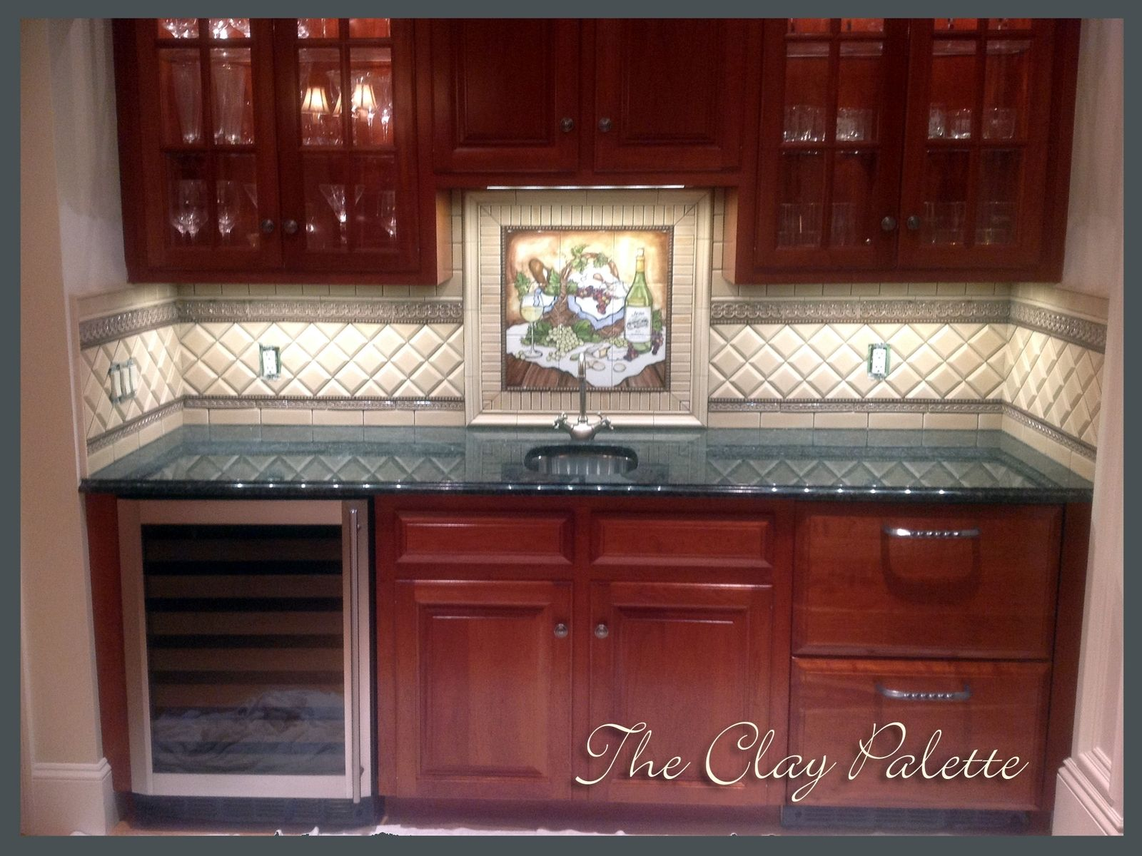 Hand Crafted Hand-Painted Chardonnay Tile Backsplash By