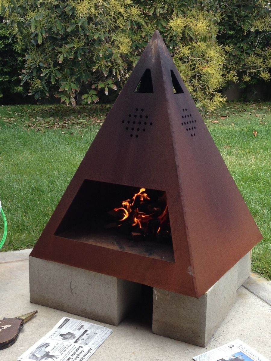Buy a Custom Outdoor Steel Chiminea-Fireplace, made to ... on Quillen Steel Outdoor Fireplace id=68498
