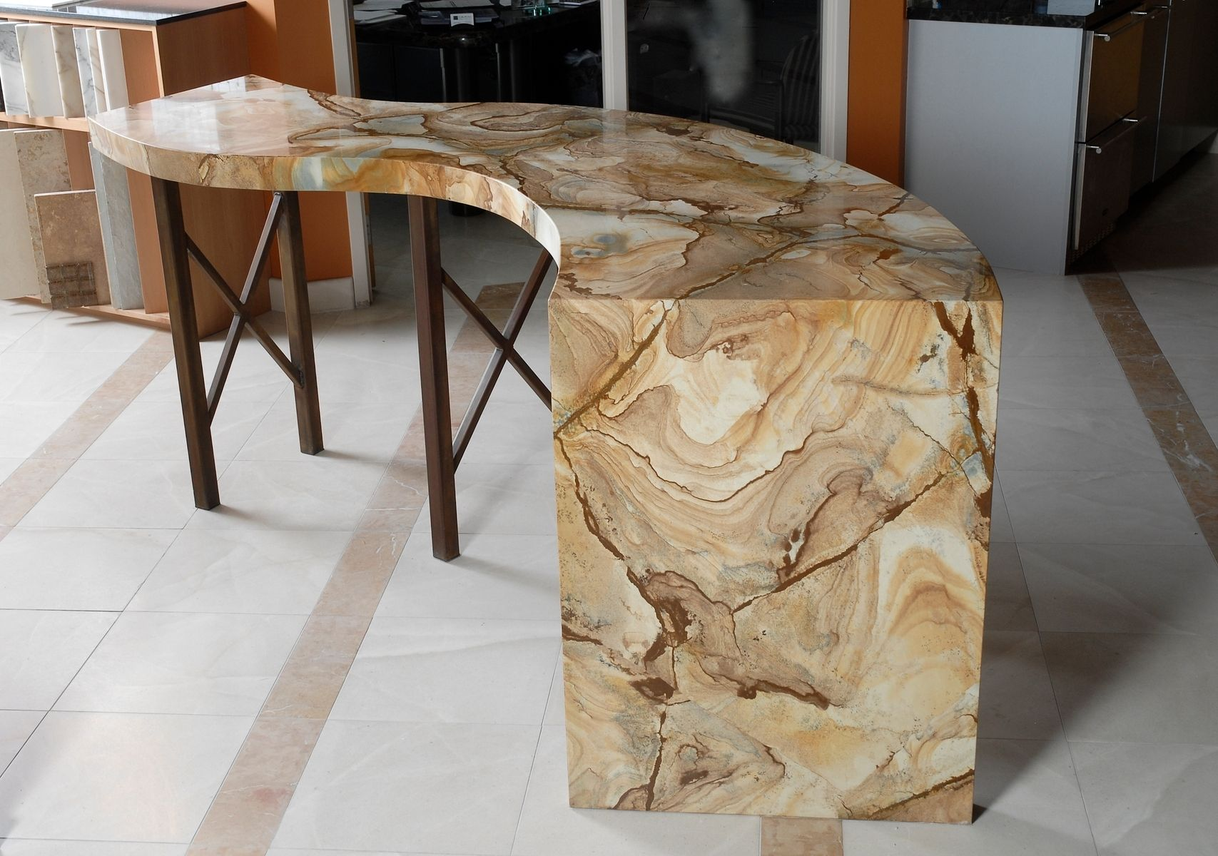 Custom BarDisplay Table Natural Stone By Aggie Design