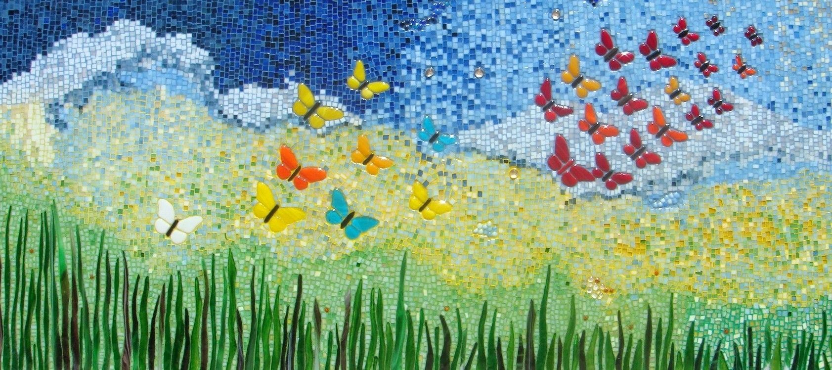 Custom Made Wall Decor Butterfly Mosaic Ii By Aval Glass