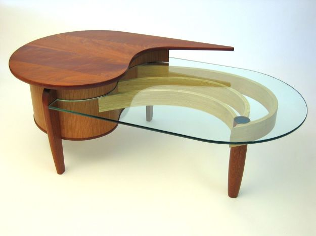hand crafted mahogany, cherry and glass coffee tabledogwood