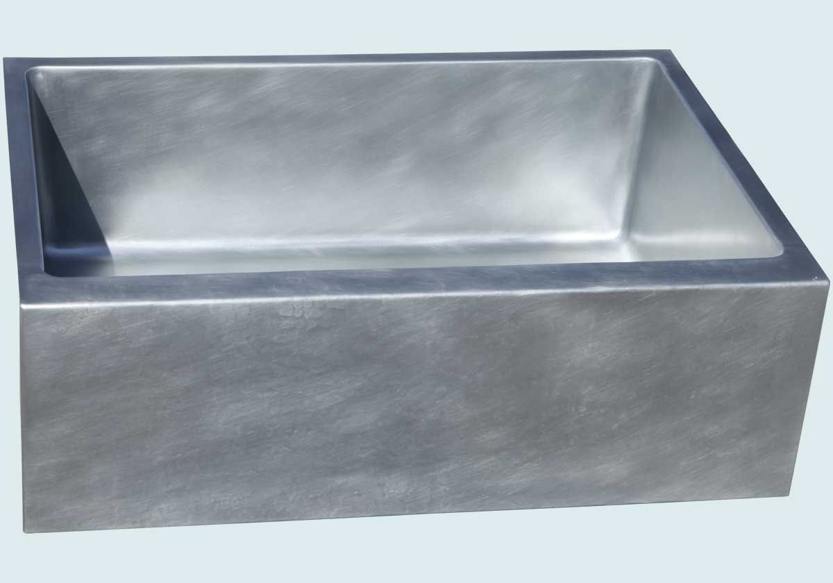 zinc sink with lightly hammered apron