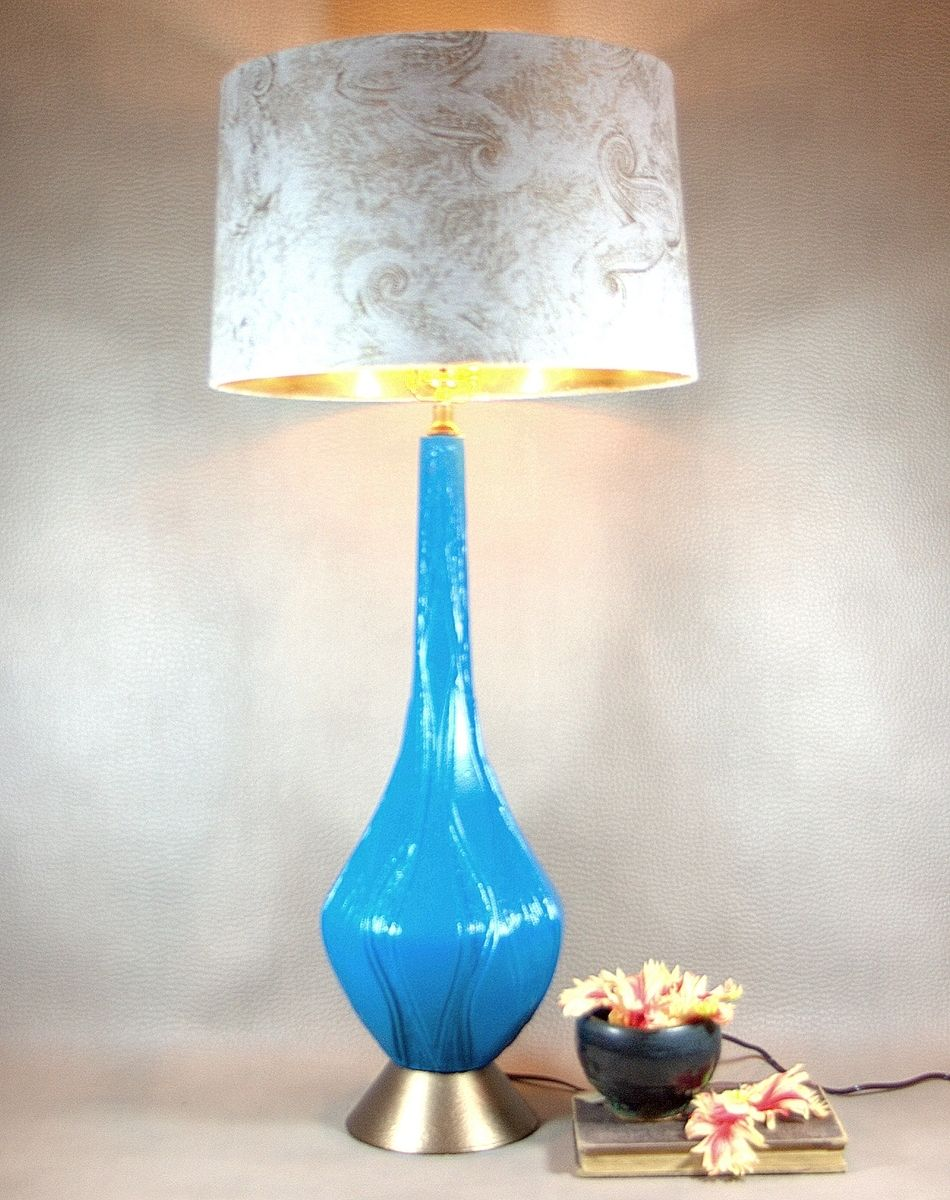 Hand Made Vintage Turquiose Mod Lamp Retro Genie Bottle
